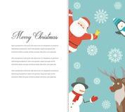 Funny Merry Christmas card. Christmas characters. Vector Stock Photos