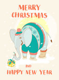 Funny Merry Christmas card with elephant wearing cute sweater an Stock Images