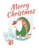 Funny Merry Christmas card with elephant wearing cute sweater an Royalty Free Stock Photos