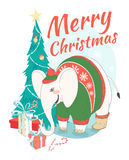 Funny Merry Christmas card with elephant wearing cute sweater an Stock Photos