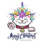 Funny Merry Christmas card with hand drawn lettering, Maneki Neko cat with Unicorn horn, poinsettia plant wreath.
