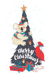 Funny Merry Christmas card with koala wearing cute sweater and h Royalty Free Stock Image
