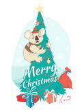 Funny Merry Christmas card with koala wearing cute sweater and h Royalty Free Stock Images