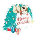 Funny Merry Christmas card with koala wearing cute sweater and h Stock Images