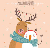 Funny Merry Christmas card with reindeer and a snowman Royalty Free Stock Photography