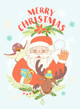 Funny Merry Christmas card with Santa Claus holding gift box, pe Stock Photo