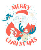 Funny Merry Christmas card with Santa Claus holding gift box, pe Royalty Free Stock Images