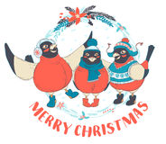 Funny Merry Christmas card with three birds bullfinches wearing. Vector illustration Festive Funny Merry Christmas card with three birds bullfinches wearing caps Royalty Free Stock Photography