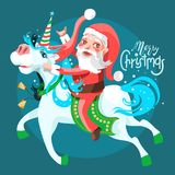 Santa Claus with rocker gesture, riding the adorable unicorn. Funny Mery Christmas greeting card. Cute and funny Santa Claus with rocker gesture, riding the Royalty Free Stock Photos