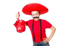 Funny mexican with boxer gloves Royalty Free Stock Photo