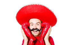 Funny mexican with boxer gloves Stock Photography