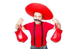 Funny mexican with boxer gloves Stock Photos