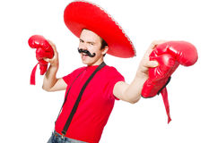 Funny mexican with boxer gloves Royalty Free Stock Images