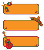 Funny Mexican frame. Mexican frame with maracas, guitar and sombrero Stock Image