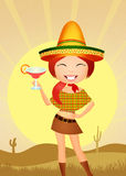 Funny Mexican girl. Illustration of Mexican girl with tacos and margarita Royalty Free Stock Photography