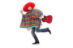 Funny mexican with guitar isolated on white Stock Photography