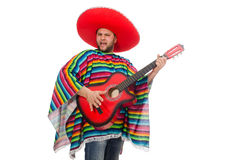 Funny mexican with guitar isolated on white Stock Photos