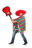 Funny mexican with guitar isolated on white Stock Images