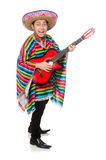 Funny mexican with guitar isolated on white Royalty Free Stock Photo