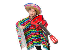 Funny mexican with guitar isolated on white Royalty Free Stock Photography