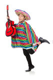 Funny mexican with guitar isolated on white Royalty Free Stock Image