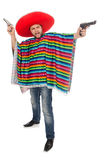 Funny mexican holding pistol isolated on white Stock Images