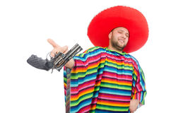 Funny mexican holding pistol isolated on white Royalty Free Stock Images