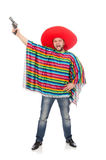 Funny mexican holding pistol isolated on white Stock Photo