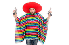 Funny mexican holding pistol isolated on white Royalty Free Stock Photography