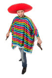Funny mexican holding pistol isolated on white Royalty Free Stock Photo