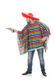 Funny mexican holding pistol isolated on white Royalty Free Stock Image