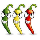 Funny mexican hot chili peppers Stock Photos