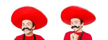The funny mexican isolated on the white. Funny mexican isolated on the white royalty free stock photo