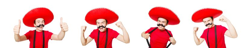 The funny mexican isolated on the white. Funny mexican isolated on the white royalty free stock photos