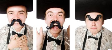 The funny mexican isolated on the white. Funny mexican isolated on the white stock photography