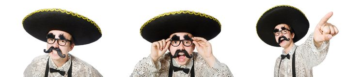 The funny mexican isolated on the white. Funny mexican isolated on the white royalty free stock image