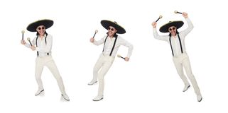 The funny mexican with maracas isolated on white. Funny mexican with maracas isolated on white stock photos