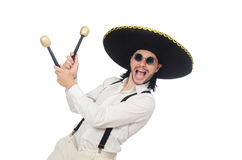 The funny mexican with maracas isolated on white Stock Photos