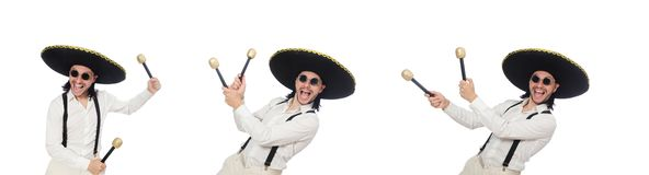 The funny mexican with maracas isolated on white. Funny mexican with maracas isolated on white stock image