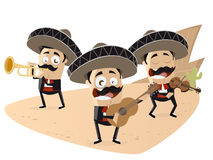 Funny mexican mariachi band royalty free illustration