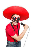 Funny mexican with mic Royalty Free Stock Photos
