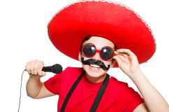 Funny mexican with mic Stock Photo