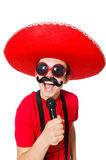 Funny mexican with mic Royalty Free Stock Images