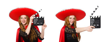 The funny mexican with movie board Royalty Free Stock Photo