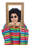 Funny mexican with photo frame isolated on white Royalty Free Stock Photo