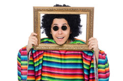 Funny mexican with photo frame isolated on white. The funny mexican with photo frame isolated on white Stock Photos
