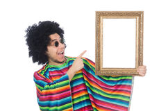 Funny mexican with photo frame isolated on white. The funny mexican with photo frame isolated on white Stock Image
