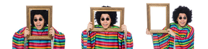 The funny mexican with photo frame isolated on white Stock Photos