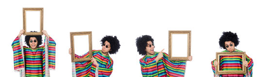 The funny mexican with photo frame isolated on white Stock Photography