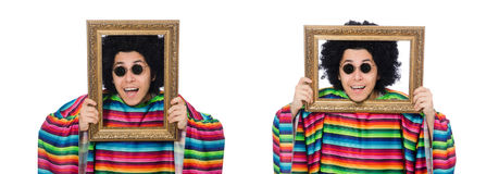 The funny mexican with photo frame isolated on white Royalty Free Stock Photo
